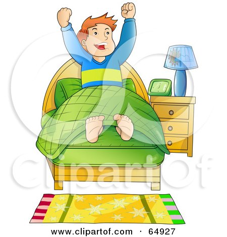 Royalty-Free (RF) Clipart Illustration of an Energetic Boy Waking Up In The Morning by YUHAIZAN YUNUS
