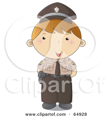 Royalty-Free (RF) Clipart Illustration of a Police Man In A Brown Uniform by YUHAIZAN YUNUS