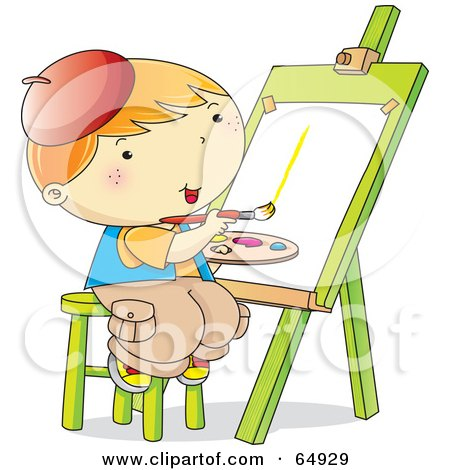 Royalty-Free (RF) Clipart Illustration of a Happy Little Boy Sitting On A Stool And Painting On An Easel by YUHAIZAN YUNUS