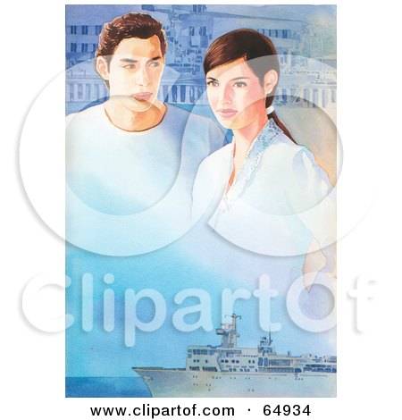 Royalty-Free (RF) Clipart Illustration of a Couple Composed Into A Sky Above A Ship by YUHAIZAN YUNUS