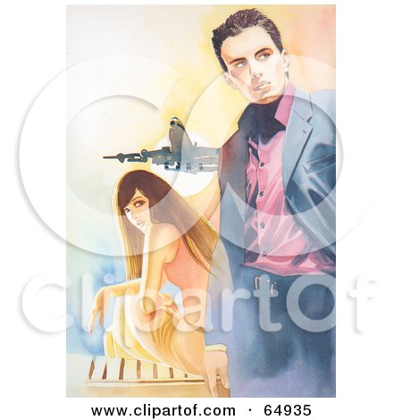 Royalty-Free (RF) Clipart Illustration of a Young Woman Sitting And Looking Back At A Stylish Man At An Airport by YUHAIZAN YUNUS
