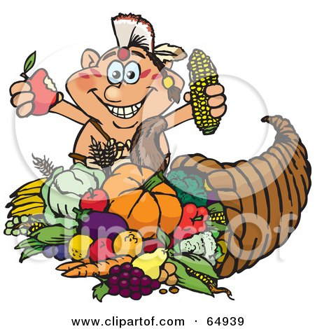 Royalty-Free (RF) Clipart Illustration of a Thanksgiving Native American Man Holding Corn And An Apple Over A Horn Of Plenty by Dennis Holmes Designs