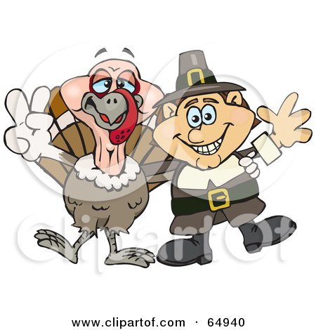 Royalty-Free (RF) Clipart Illustration of a Male Pilgrim And Thanksgiving Turkey Gesturing Peace Signs by Dennis Holmes Designs