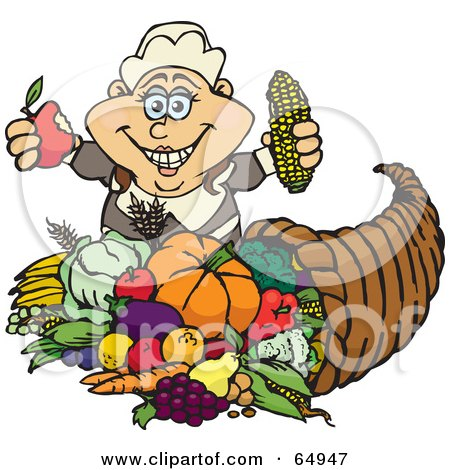 Royalty-Free (RF) Clipart Illustration of a Thanksgiving Pilgrim Woman Holding Corn And An Apple Over A Horn Of Plenty by Dennis Holmes Designs