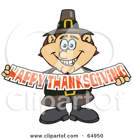 Royalty-Free (RF) Clipart Illustration of a Male Pilgrim Smiling And Holding A Happy Thanksgiving Banner by Dennis Holmes Designs