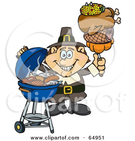 Royalty-Free (RF) Clipart Illustration of a Male Pilgrim Holding Corn, Chicken, Ham And A Pumpkin On A Fork By A BBQ by Dennis Holmes Designs