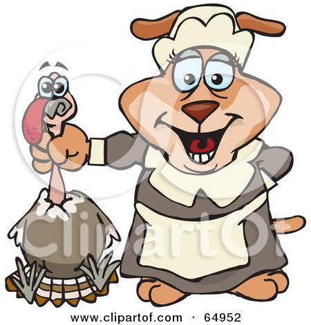 Royalty-Free (RF) Clipart Illustration of a Female Sparkey Dog Pilgrim Holding A Thanksgiving Turkey Bird By The Neck by Dennis Holmes Designs