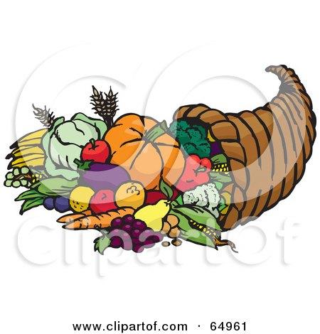 Horn Of Plenty With Harvested Fruits And Veggies Posters, Art Prints