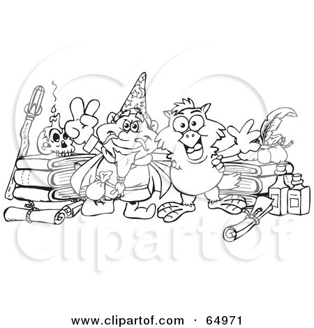 Royalty-Free (RF) Clipart Illustration of a Black And White Outline Of A Sorcerer And Owl With Bottles And Books by Dennis Holmes Designs