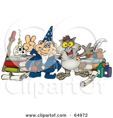 Royalty-Free (RF) Clipart Illustration of a Wizard And Owl With Bottles And Books by Dennis Holmes Designs