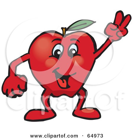 Royalty-Free (RF) Clipart Illustration of a Red Apple Man Gesturing The Peace Sign by Dennis Holmes Designs