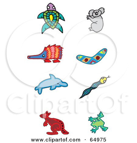 Royalty-Free (RF) Clipart Illustration of a Digital Collage Of Aboriginal Styled Animals; Turtle, Koala, Enchidna, Boomerang, Dolphin, Snake, Kangaroo And Frog by Dennis Holmes Designs