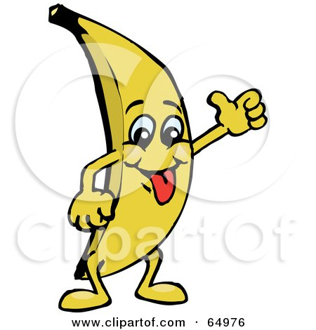 Royalty-Free (RF) Clipart Illustration of a Goofy Banana Guy Giving The Thumbs Up by Dennis Holmes Designs