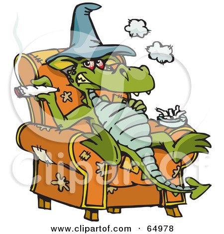 Royalty-Free (RF) Clipart Illustration of a Dragon Sitting In A Chair And Smoking Dope by Dennis Holmes Designs