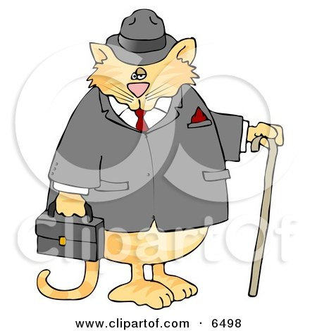 Gentlemanly Cat in a Jacket and Hat, Holding a Cane and Briefcase Posters, Art Prints