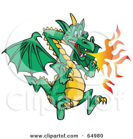 Royalty-Free (RF) Clipart Illustration of a Flying Green Fire Breathing Dragon by Dennis Holmes Designs