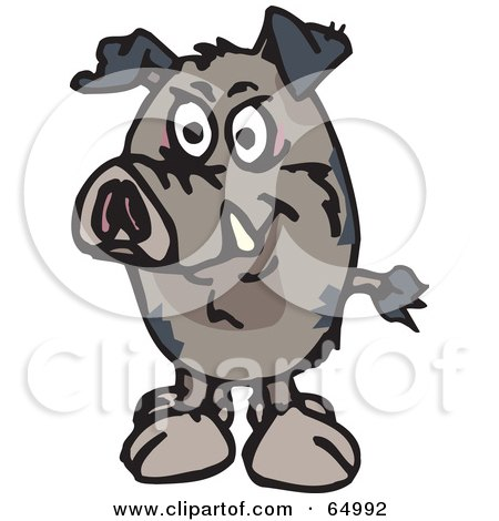 Royalty-Free (RF) Clipart Illustration of a Wild Pig Facing Front by Dennis Holmes Designs