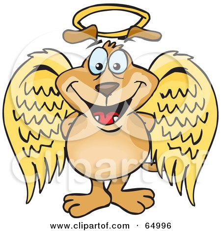 Royalty-Free (RF) Clipart Illustration of an Innocent Sparkey Dog Angel Character by Dennis Holmes Designs