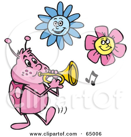 Royalty-Free (RF) Clipart Illustration of a Ladybug Tooting A Horn Under Flowers by Dennis Holmes Designs