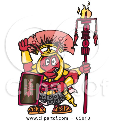 Royalty-Free (RF) Clipart Illustration of a Warrior Fire Ant Facing Front by Dennis Holmes Designs