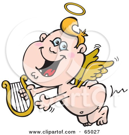 Royalty-Free (RF) Clipart Illustration of a Happy Blond Angel Guy Flying With A Lyre by Dennis Holmes Designs