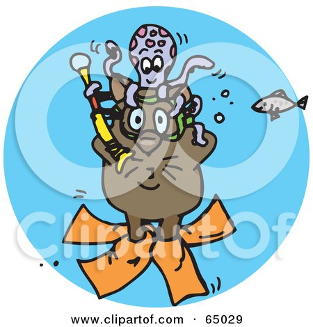 Royalty-Free (RF) Clipart Illustration of a Diving Wombat Underwater With An Octopus And Fish by Dennis Holmes Designs