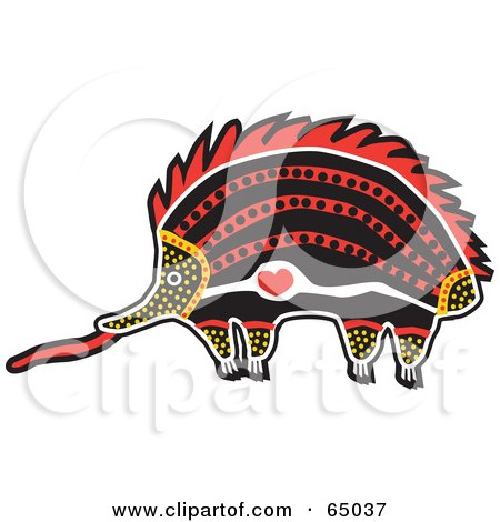 Royalty-Free (RF) Clipart Illustration of a Red, Orange And Black Aboriginal Art Styled Echidna by Dennis Holmes Designs