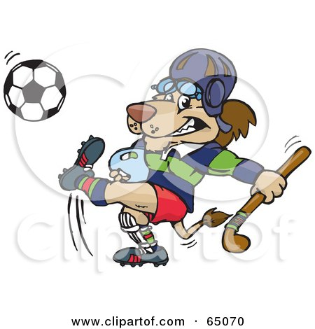 Royalty-Free (RF) Clipart Illustration of a Lion Carrying A Hockey Stick And Kicking A Soccer Ball by Dennis Holmes Designs