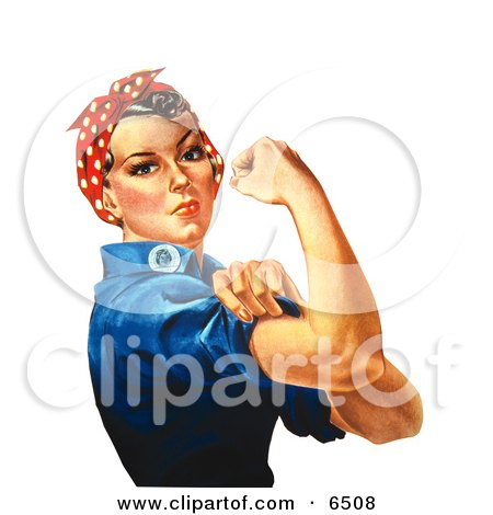 Royalty-free Clipart Illustration of Rosie the Riveter Isolated on White, Facing Right by JVPD