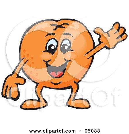 Royalty-Free (RF) Clipart Illustration of a Friendly Waving Naval Orange Guy by Dennis Holmes Designs