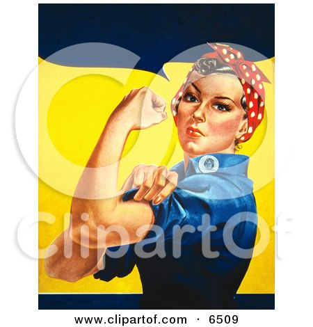 We Can Do It! Rosie the Riveter Without Text, Facing Left Clipart by JVPD