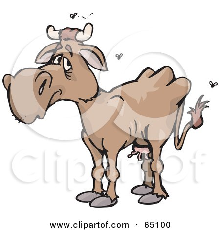 Royalty-Free (RF) Clipart Illustration of a Stinky Brown Cow by Dennis Holmes Designs