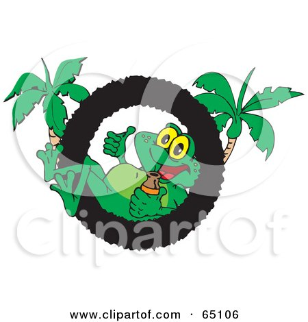 Royalty-Free (RF) Clipart Illustration of a Cool Frog Relaxing In A Ring Logo With Palm Trees by Dennis Holmes Designs
