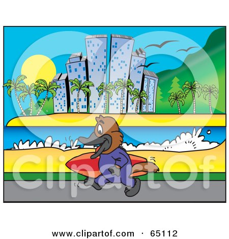 Royalty-Free (RF) Clipart Illustration of a Platypus Carrying A SUrf Board Along A Coastal City by Dennis Holmes Designs