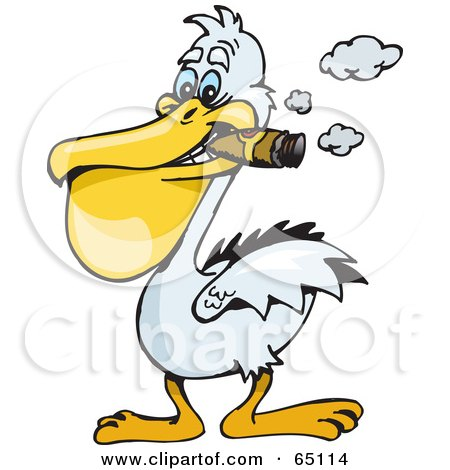 Royalty-Free (RF) Clipart Illustration of a White Pelican Smoking A Cigar by Dennis Holmes Designs