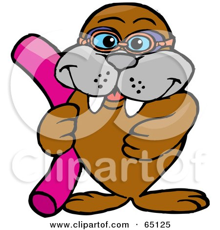 Royalty-Free (RF) Clipart Illustration of a Smiling Walrus Holding A Swimming Noodle by Dennis Holmes Designs