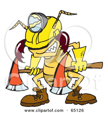 Royalty-Free (RF) Clipart Illustration of a Construction Termite Carrying An Axe by Dennis Holmes Designs