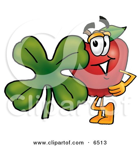Red Apple Character Mascot With a Green Four Leaf Clover on St Paddy's or St Patricks Day Clipart Picture by Toons4Biz
