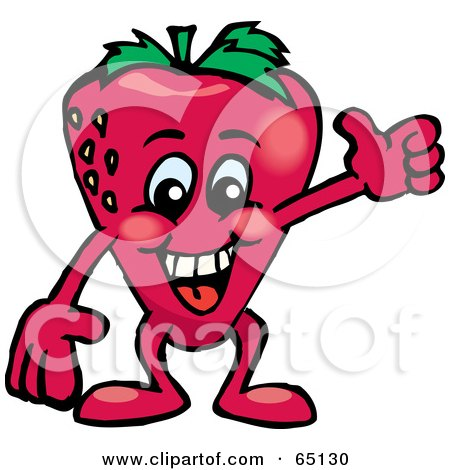 Royalty-Free (RF) Clipart Illustration of a Strawberry Guy Giving The Thumbs Up by Dennis Holmes Designs