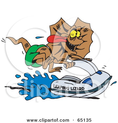 Royalty-Free (RF) Clipart Illustration of a Frill Lizard Riding A Jet Ski by Dennis Holmes Designs