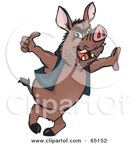 Royalty-Free (RF) Clipart Illustration of a Wild Hog Leaning And Giving The Thumbs Up by Dennis Holmes Designs