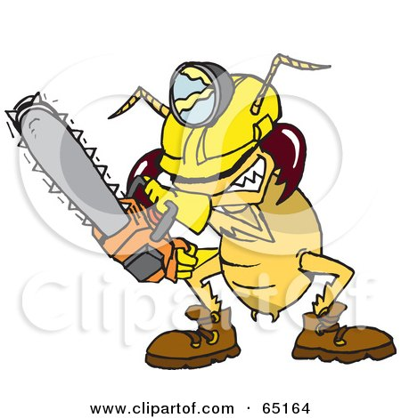 Royalty-Free (RF) Clipart Illustration of a Construction Termite Using A Chainsaw by Dennis Holmes Designs