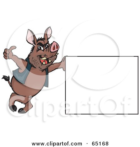 Royalty-Free (RF) Clipart Illustration of a Wild Hog Leaning On A Sign And Giving The Thumbs Up by Dennis Holmes Designs