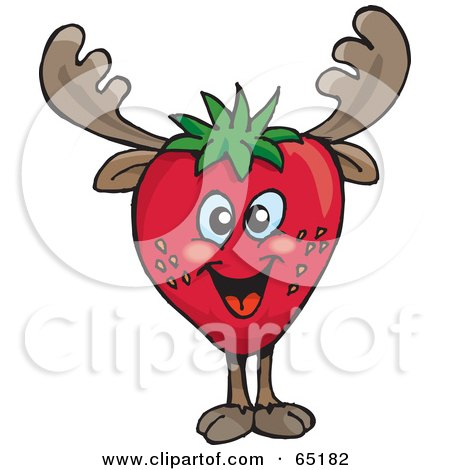 Royalty-Free (RF) Clipart Illustration of a Strawberry Moose by Dennis Holmes Designs