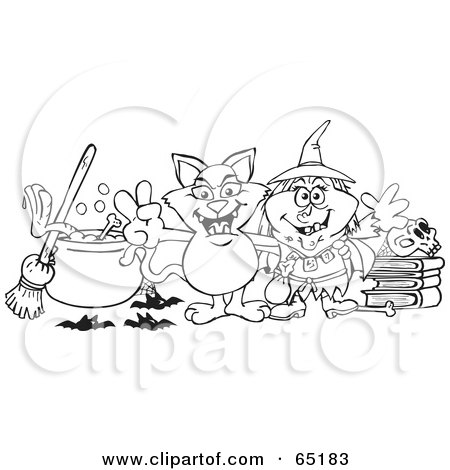 Royalty-Free (RF) Clipart Illustration of a Black And White Outline Of A Witch And Her Cat By A Cauldron, Broom And Skull On Books by Dennis Holmes Designs