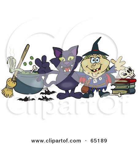 Royalty-Free (RF) Clipart Illustration of a Evil Witch And Her Cat By A Cauldron, Broom And Skull On Books by Dennis Holmes Designs