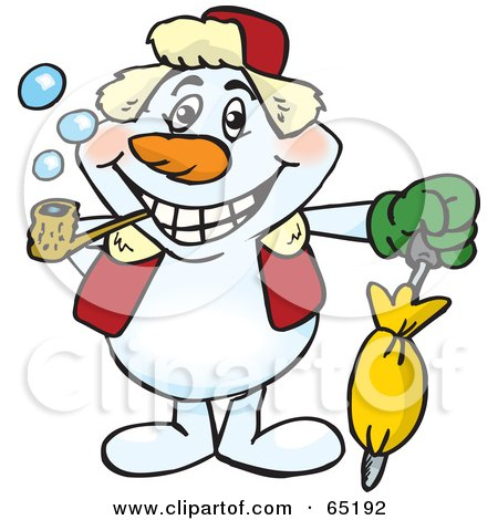 Royalty-Free (RF) Clipart Illustration of a Happy Snowman Smoking A Pipe And Holding An Umbrella by Dennis Holmes Designs