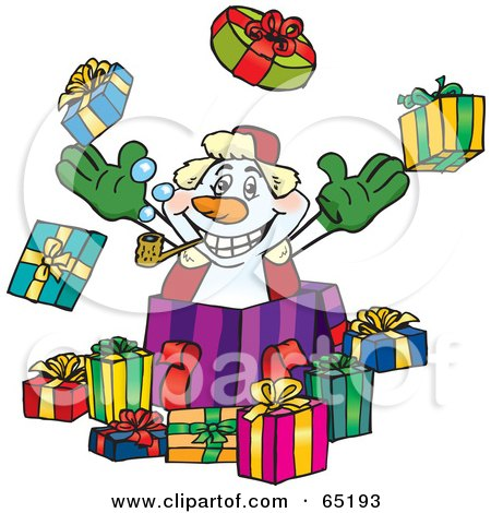 Royalty-Free (RF) Clipart Illustration of a Jolly Snowman Popping Out Of A Gift Box, Surrounded By Christmas Presents - Version 2 by Dennis Holmes Designs
