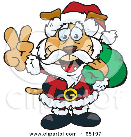 Royalty-Free (RF) Clipart Illustration of a Peaceful Sparkey Dog Santa Carring A Toy Sack by Dennis Holmes Designs