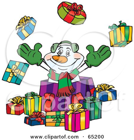 Royalty-Free (RF) Clipart Illustration of a Jolly Snowman Popping Out Of A Gift Box, Surrounded By Christmas Presents - Version 1 by Dennis Holmes Designs